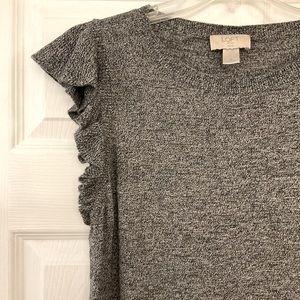 Loft fine knit grey marl stitch flutter sleeve top